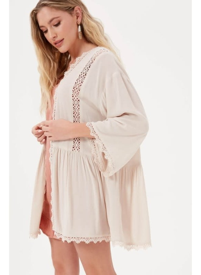 HEAVENLY LACE INSERT CARDIGAN OFF WHITE