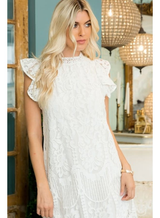 WILLOW LACE MOCK NECK RUFFLED DRESS