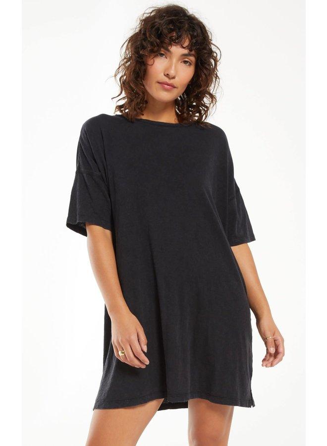 DELTA WASHED BLACK T-SHIRT DRESS