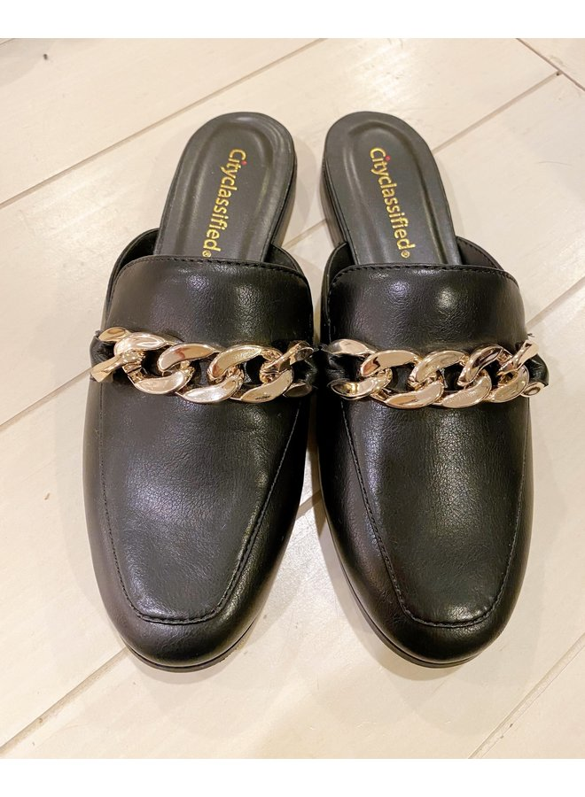 ANNELISE BLACK MULES WITH CHAIN