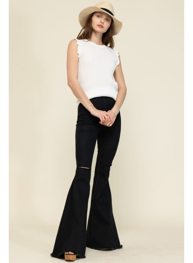 CARLY BLACK STRETCHY BELL BOTTOM PANTS WITH ELASTIC