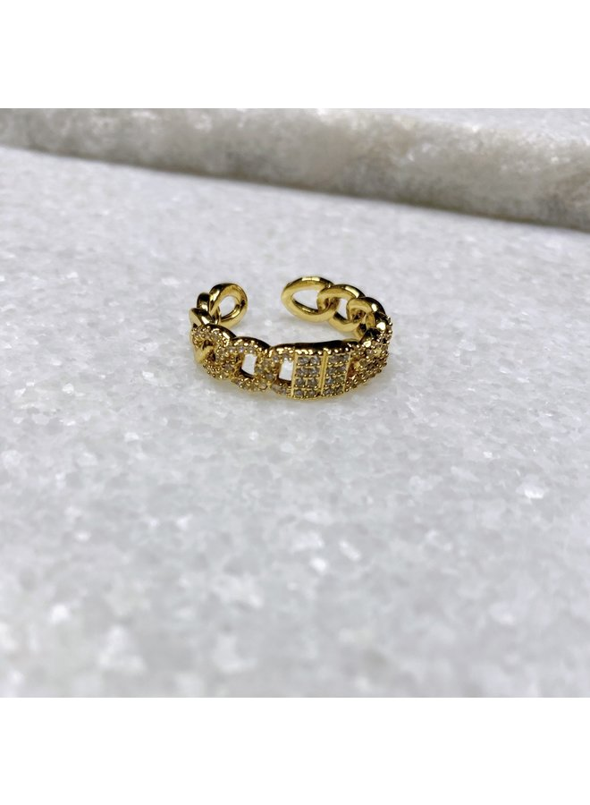 GOLD FILLED DIAMOND THICK CHAIN RING