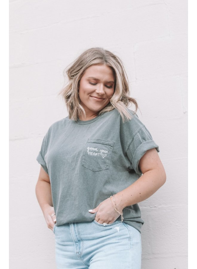 GUARD YOUR HEART EMBROIDERED POCKET TEE