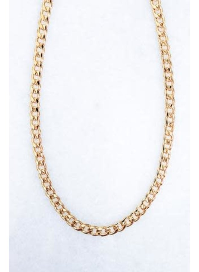 """MOXIE 18"""" GOLD PLATED CURB CHAIN NECKLACE"""