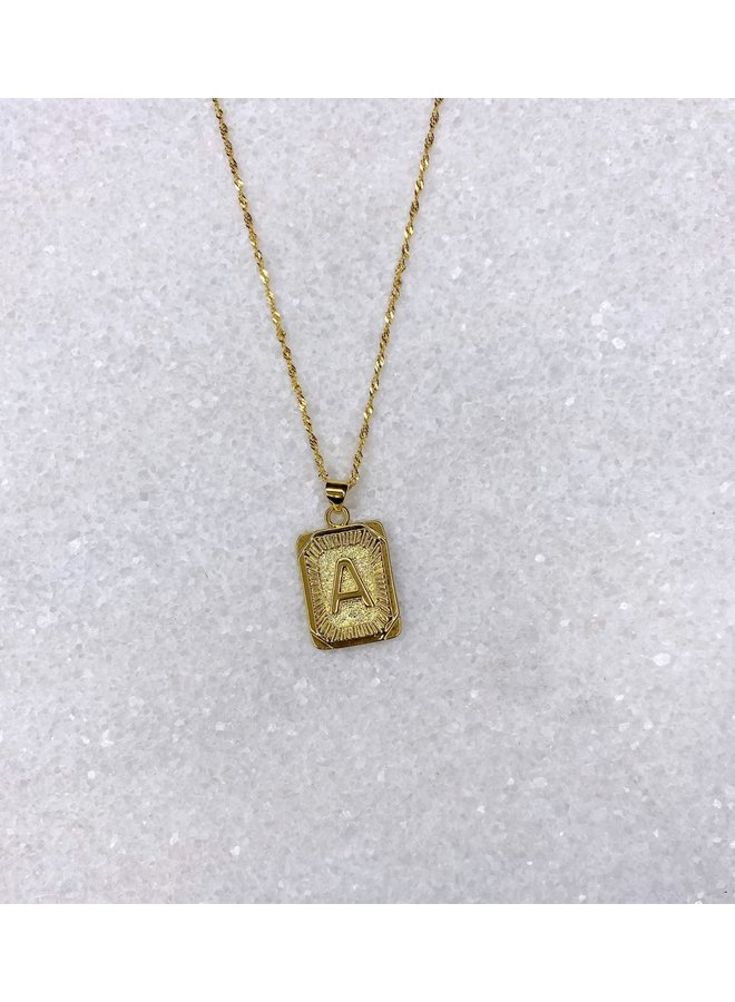 GOLD FILLED INITIAL TAG