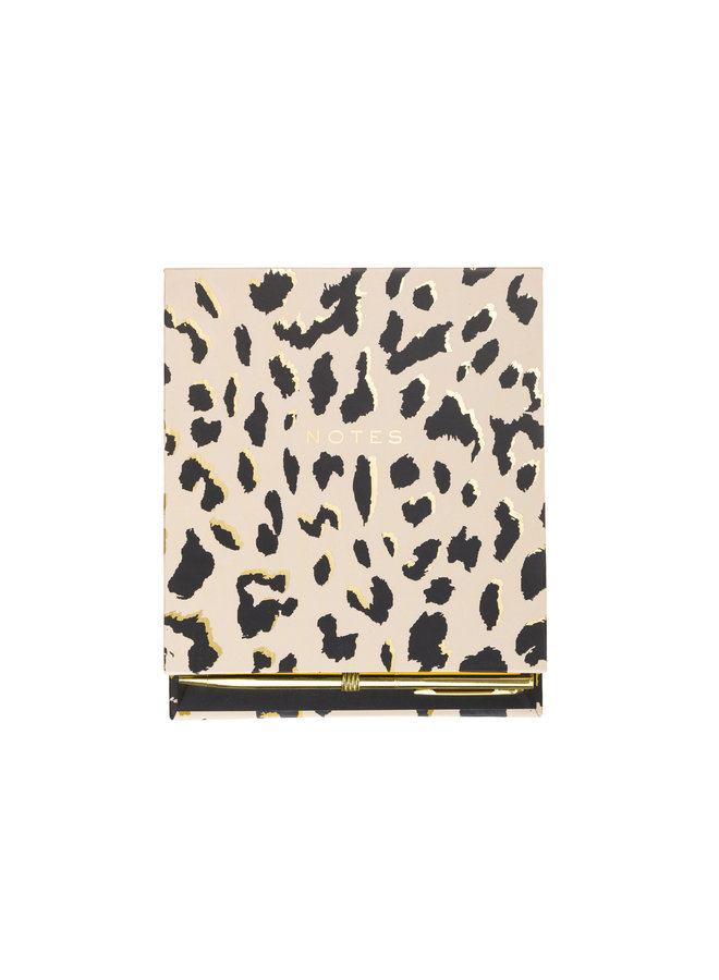 SQUARE COVERED PAD WITH PEN CHEETAH