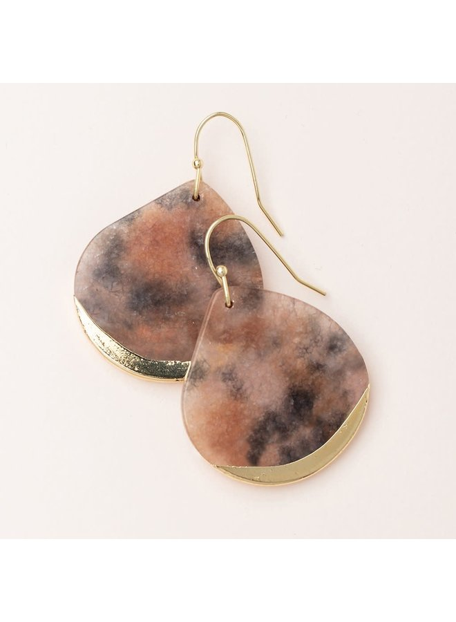 STONE DIPPED EARRING- PINK AGATE/ GOLD