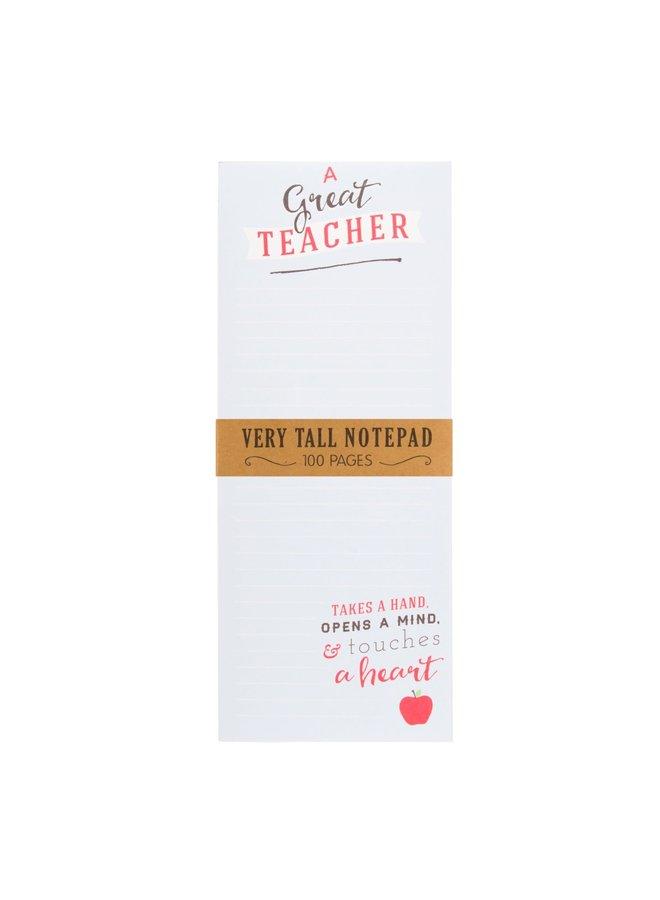A GREAT TEACHER TALL MAGNET NOTEPAD
