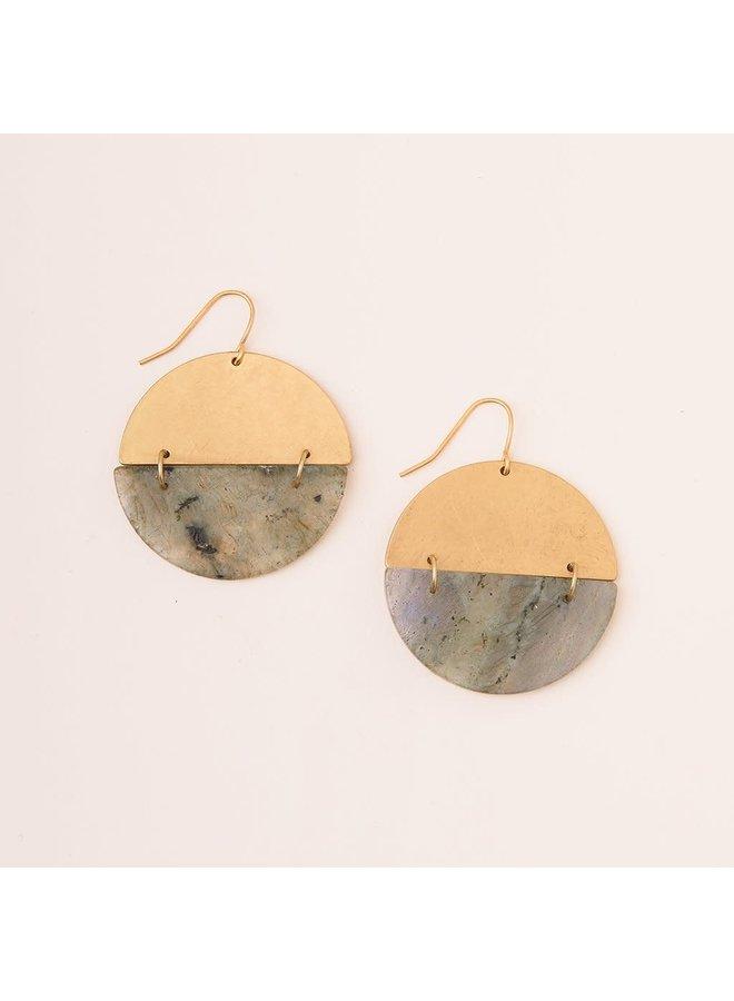 STONE FULL MOON EARRING- LABRADORITE/GOLD