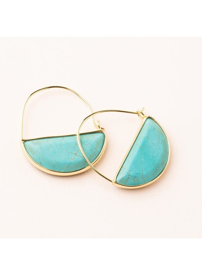 STONE PRISM HOOP- TURQUOISE/GOLD