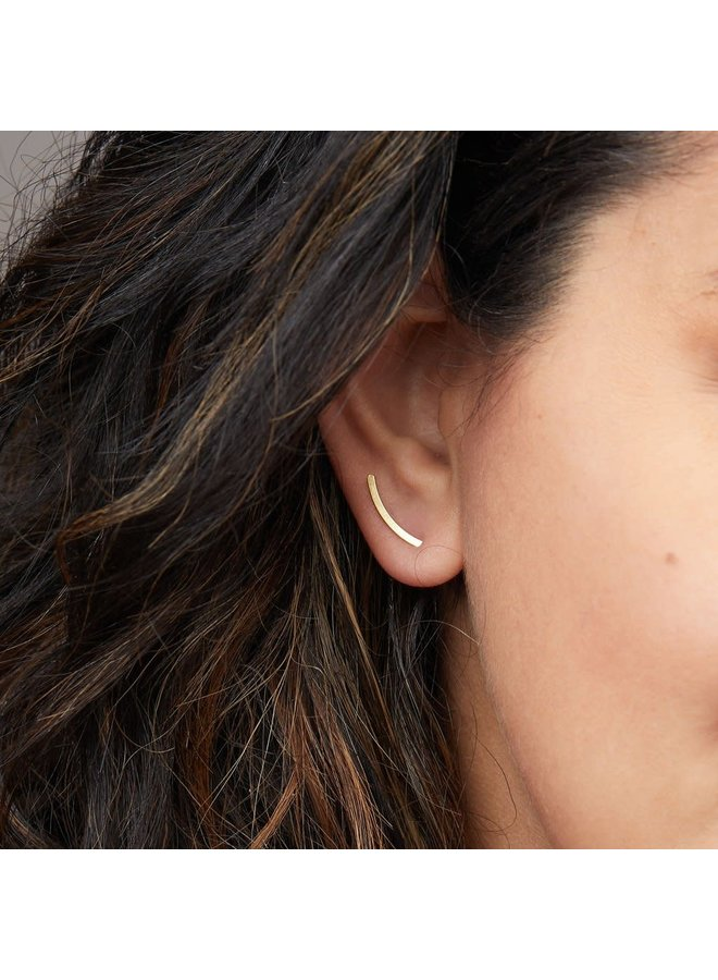 COMET CURVE EARRING- GOLD