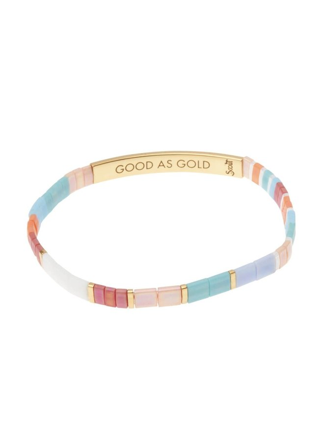 GOOD AS GOLD BRACELET- AQUA MULTI/GOLD