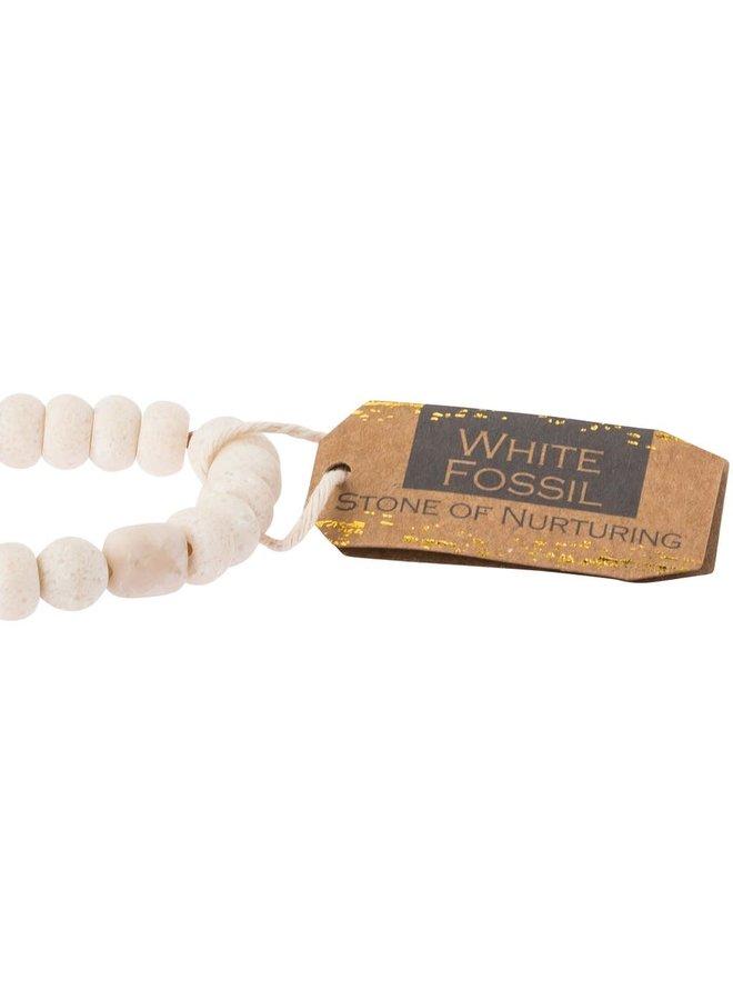 STONE OF NURTURING WHITE FOSSIL STONE BRACELET