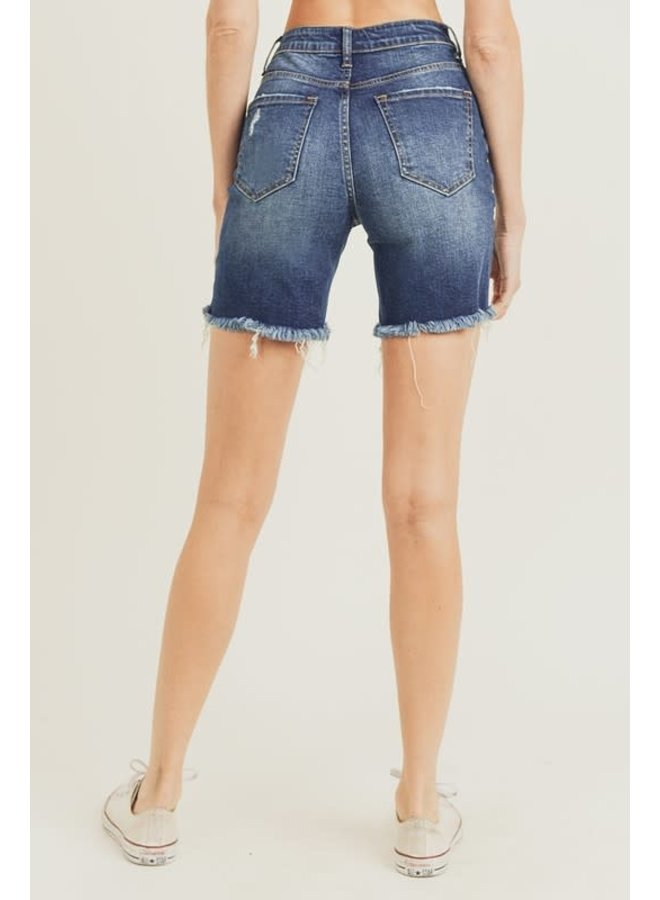 MAXWELL HIGH WAISTED DISTRESSED LONG SHORT