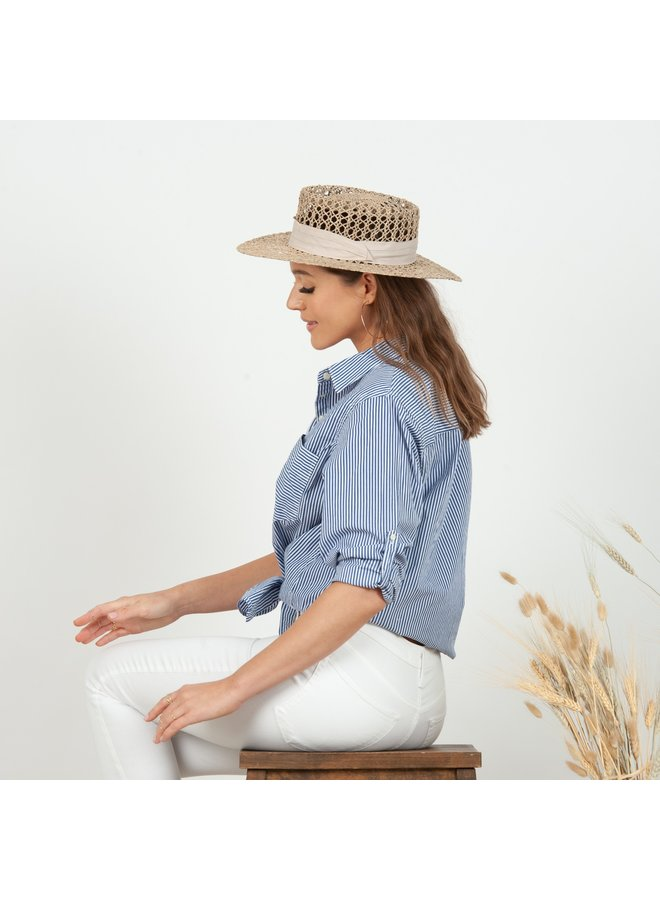 AVA RATTAN BOATER HAT WITH BEIGE SASH