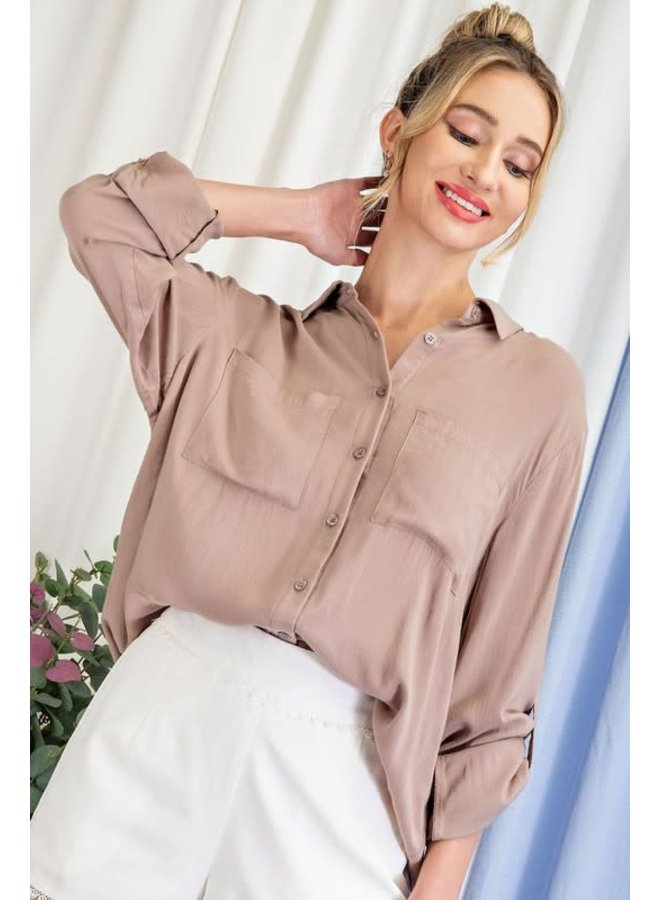CHARLIE LONG SLEEEVED BUTTON DOWN TOP