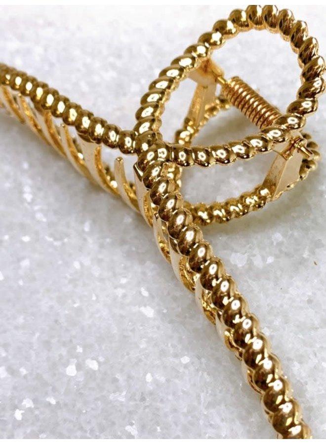 GOLD METALLIC ROPE LOOP CLAW HAIRCLIP