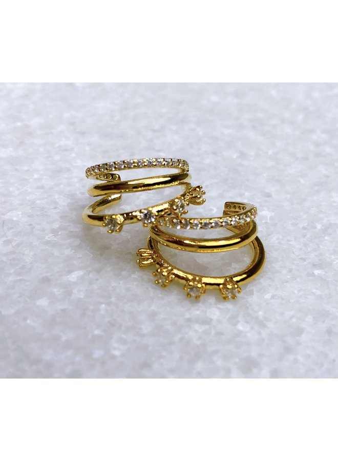 HATTIE TRIPLE BAR HOOP EARRING 16K GOLD FILLED