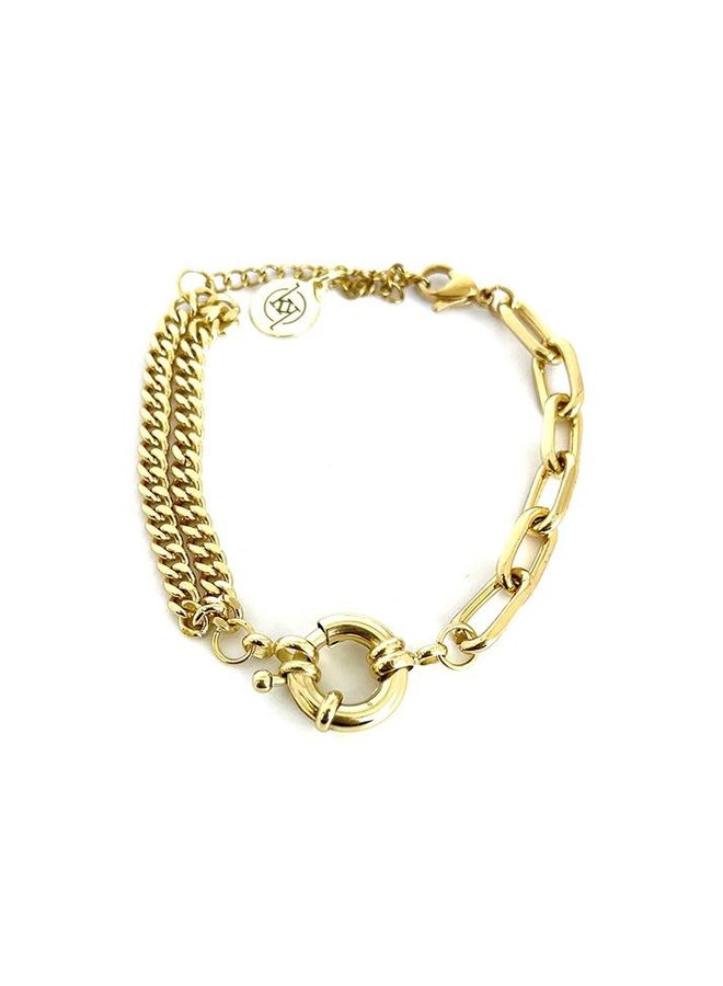 GAGE LOCK AND CHAIN GOLD BRACELET