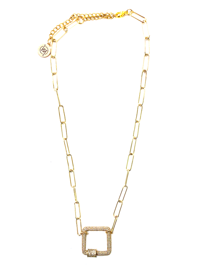 DANICA RECTANGLE LOCK AND CHAIN NECKLACE