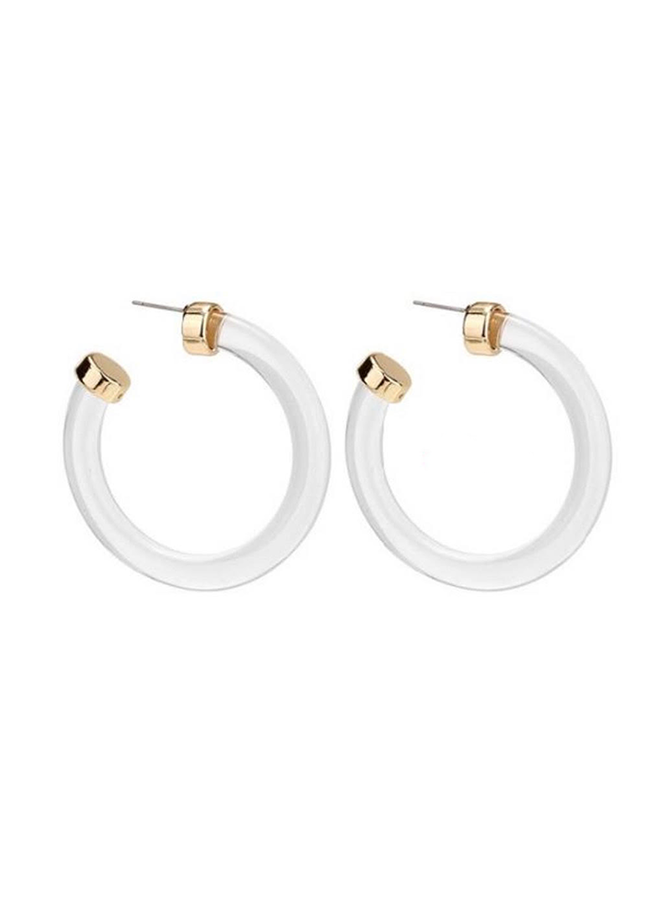 KENLEE ACRYLIC CLEAR HOOPS W/ GOLD ACCENT