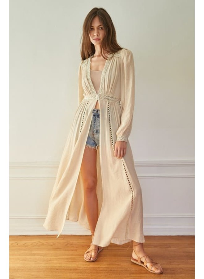 SYNNA WOVEN LACE BUTTON DOWN DUSTER