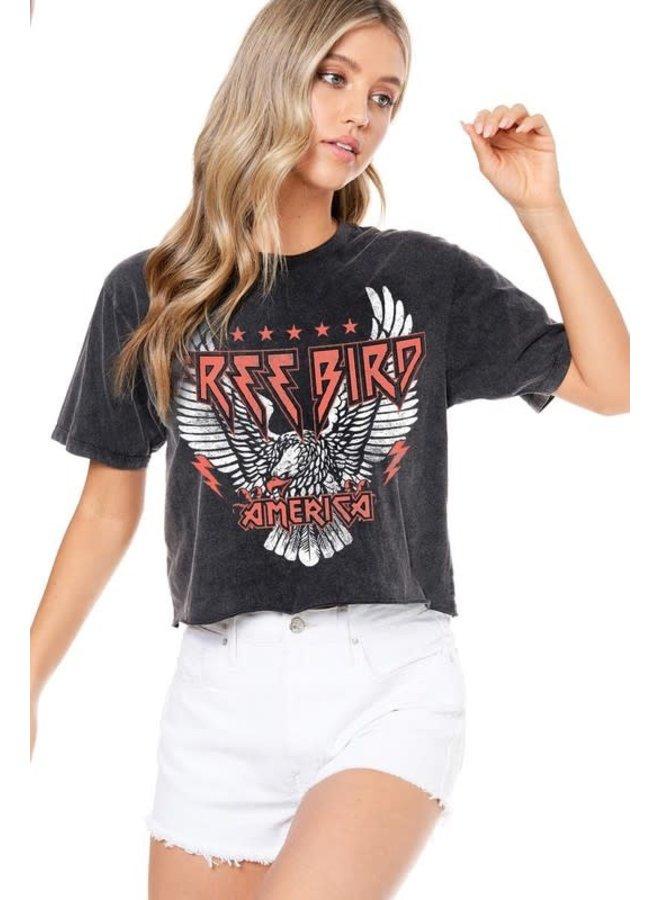 HETTIE FREE BIRD AMERICA CROP MINERAL WASH TEE