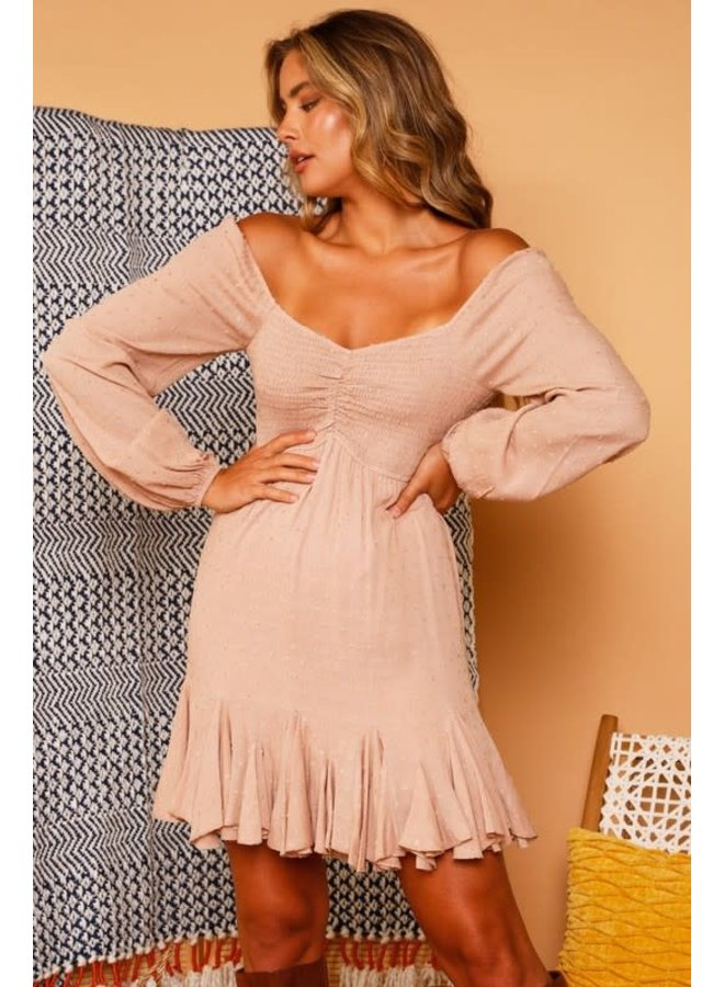 NOLAN OFF THE SHOULDER SWISS RUCHED MINI DRESS W/PUFF SLEEVES