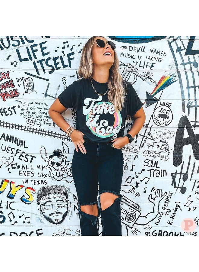 COLORFUL TAKE IT EASY GRAPHIC TEE