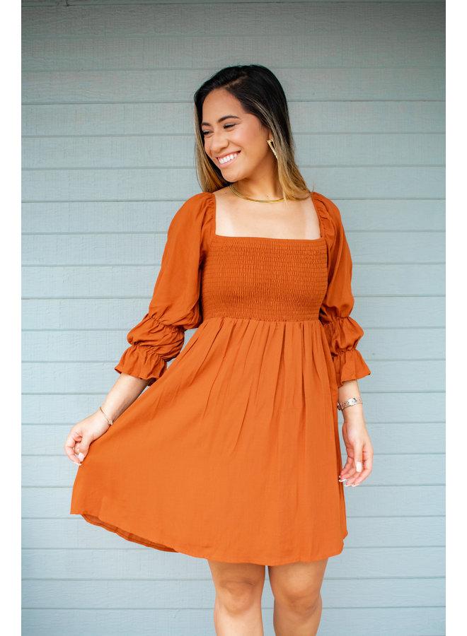 ARIA SMOCKED SQUARE NECKLINE DRESS