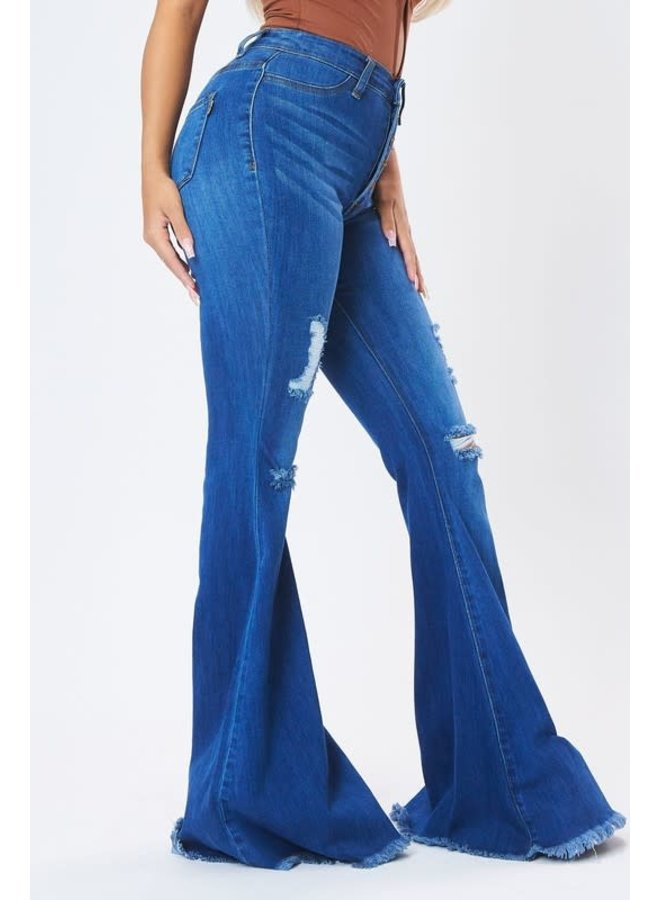 LOUISE BUTTON DOWN HIG RISE FLARES