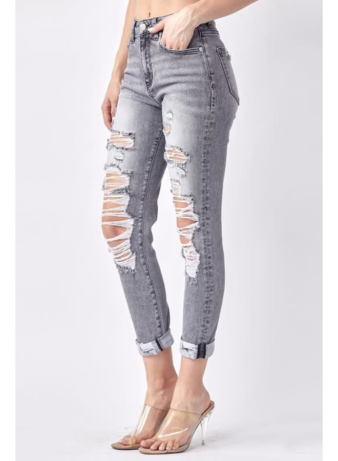 YUMI DISTRESSED RELAXED FIT SKINNY W/ ROLLED UP CUFF