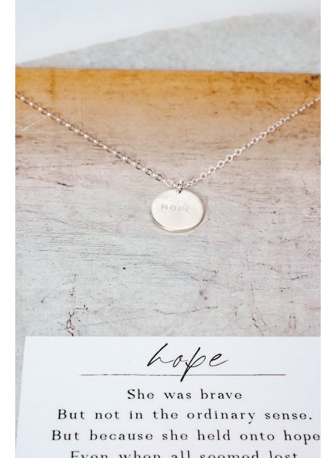 STERLING SILVER HOPE PENDANT NECKLACE