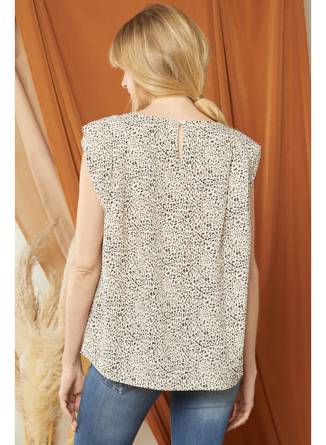 LANY LEOPARD PRINT SLEEVELESS SHOULDER PAD TOP