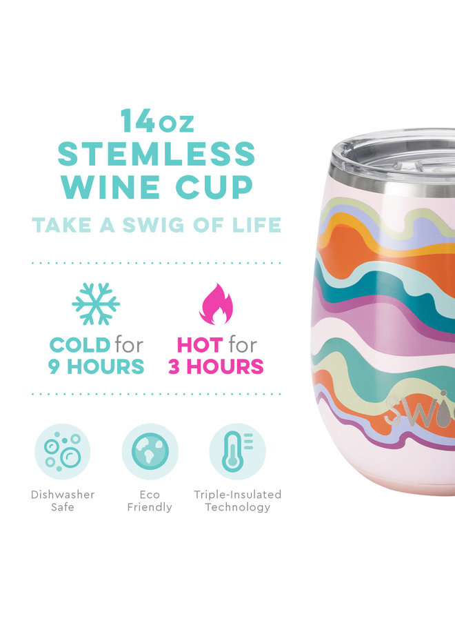 SWIG 14oz  STEMLESS WINE CUP SAND ART