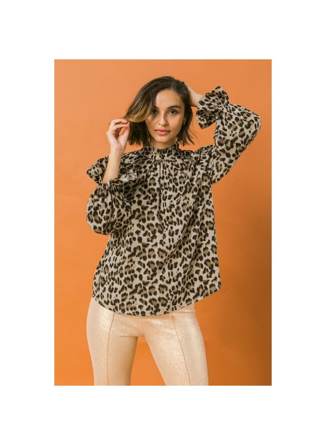 KINSEY LEOPARD PRINT TOP WITH HIGH NECKLINE