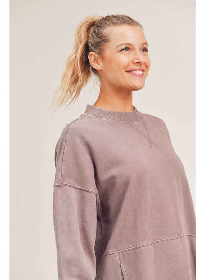 MIKEY MINERAL FLEECE LONGLINE PULLOVER