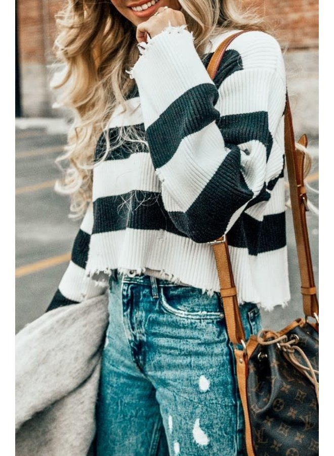 LILY DISTRESSED STRIPED SWEATER