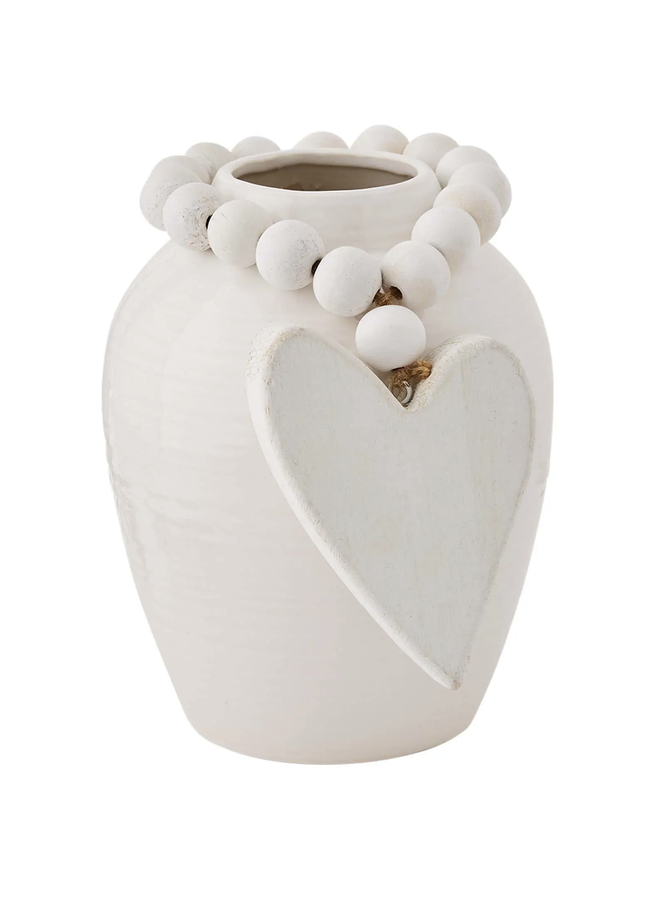 SMALL STONEWARE VASE WITH HEART BEADS
