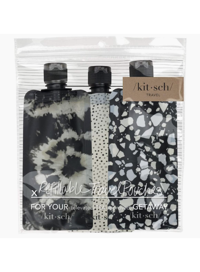 REFILLABLE TRAVEL POUCHES BLACK/IVORY