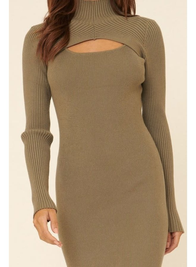 LUCY RIBBED KNIT HIGH COLLAR MINI DRESS