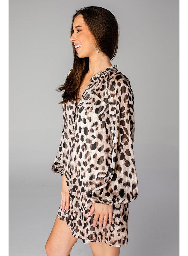 LEAH LEOPARD DRESS WITH BUTTON DETAIL
