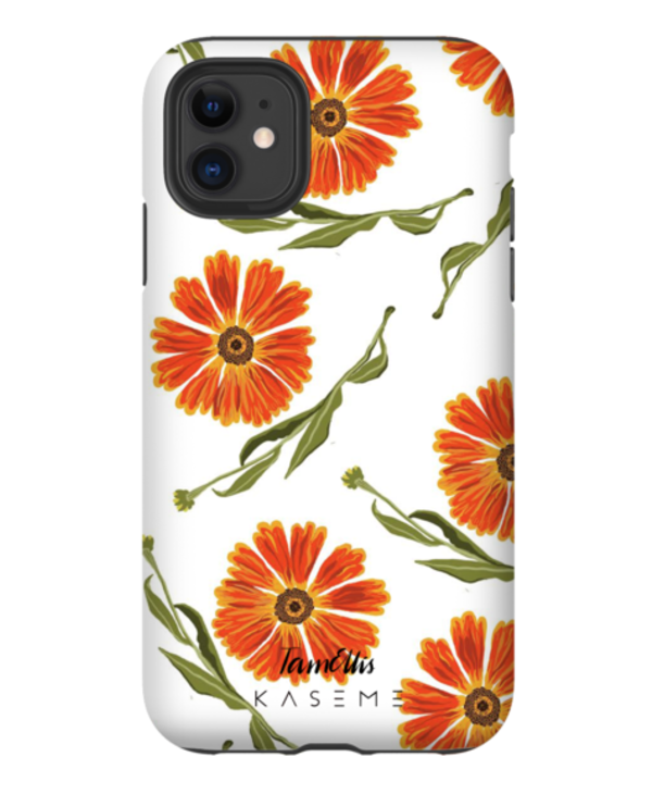 Kaseme - Étui cellulaire orange flower by tam elis chalk