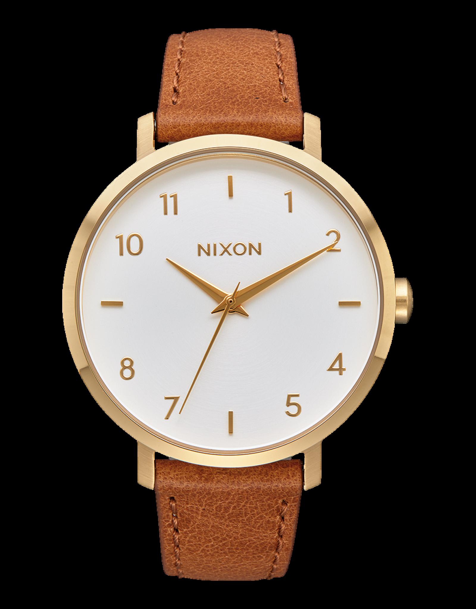 nixon Nixon - Montre femme arrow leather gold/white/saddle