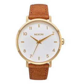 nixon Nixon - Montre femme arrow leather gold/white/saddle