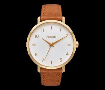 Nixon - Montre femme arrow leather gold/white/saddle