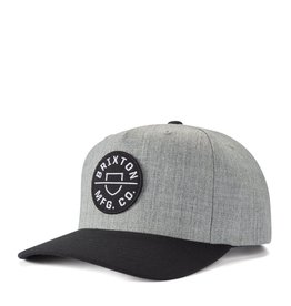 Brixton Brixton - Casquette homme crest c mp snapback heather grey/black