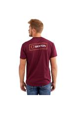 Brixton Brixton - T-shirt homme alpha block burgundy