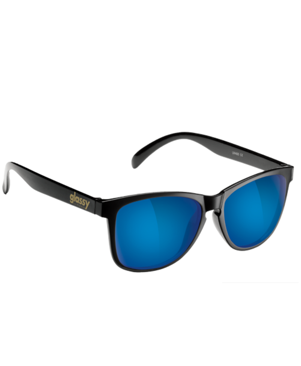 Glassy - Lunette soleil homme deric polarized black/blue mirror