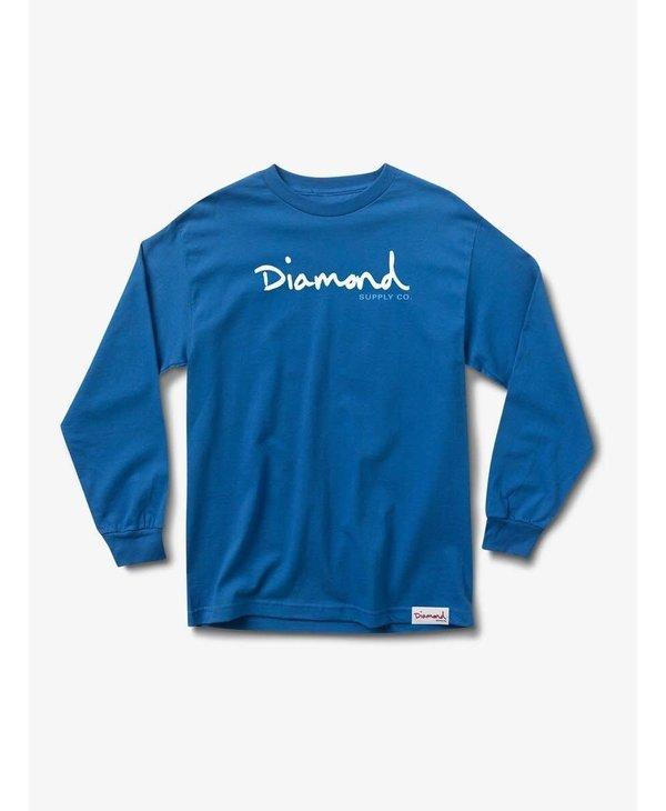 Diamond Supply Co.  - Chandail long homme og script royal blue